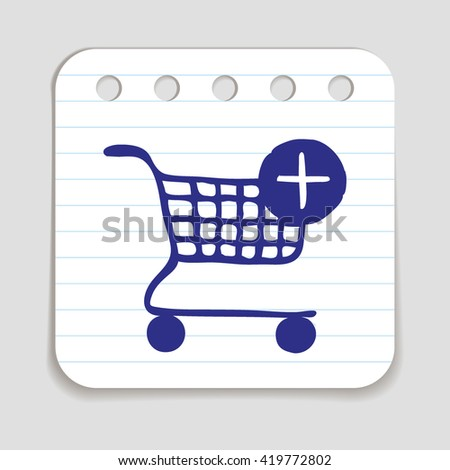 Doodle Shopping Cart icon. Blue pen hand drawn infographic symbol on a notepaper piece. Line art style graphic design element. Web button with shadow. Groceries sales supermarket concept. - stock vector