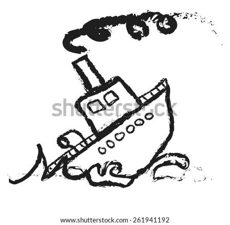 doodle Sinking Ship, vector - stock vector