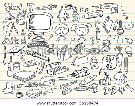 Doodle Sketch Design Elements Vector Illustration Giant Mega Set - stock vector