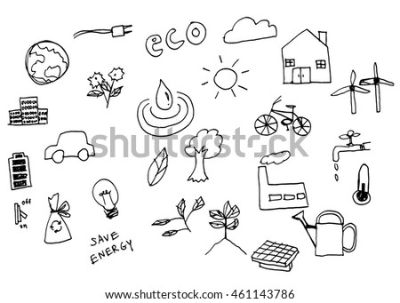 Doodle sketch eco save energy set.illutration vector