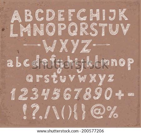 Doodle sketch font in brown paper - stock vector