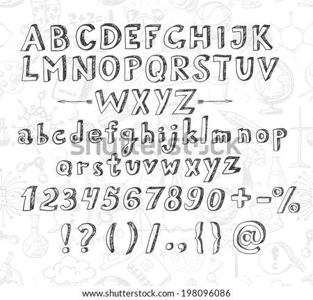 Doodle sketch font. Vector illustration. - stock vector
