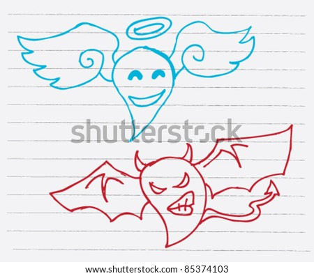 doodle sketch illustration of angel and demon - stock vector