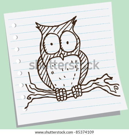 doodle sketch illustration of owl