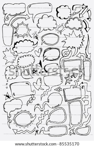 doodle sketch illustration of speech bubble comic style - stock vector