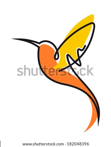 Doodle sketch of a colorful flying hummingbird logo in yellow and orange with outspread wings and a long curviong beak, side view - stock vector