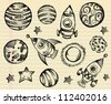 Doodle Sketch Outer Space Vector Set - stock vector