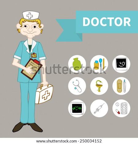 Doodle Sketch Set medicine (9 icons) - stock vector