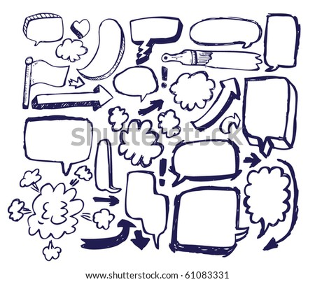 Doodle Sketch Speech Bubble Arrow Vector Illustration Set - stock vector
