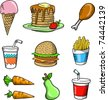 Doodle Sketch Tasty Food Vector Illustration Set - stock vector