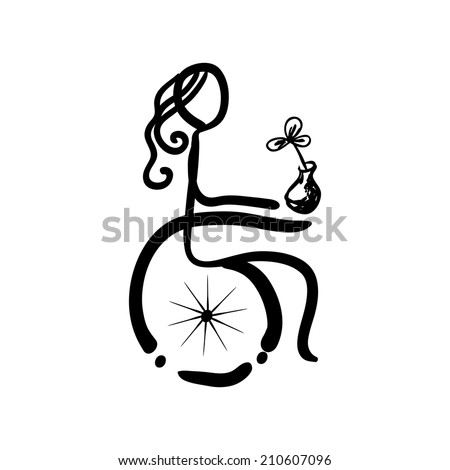 Doodle sketch woman sitting on wheelchair, vector illustration - stock vector