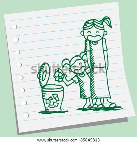 doodle sketchy a girl  dumping trash - stock vector