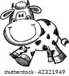 Doodle Sketchy Cow Vector Illustration - stock vector