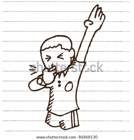 doodle sketchy football referee illustration - stock vector