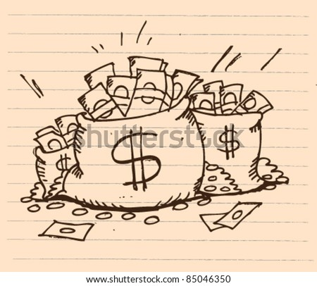doodle sketchy illustration of a bag full of money - stock vector