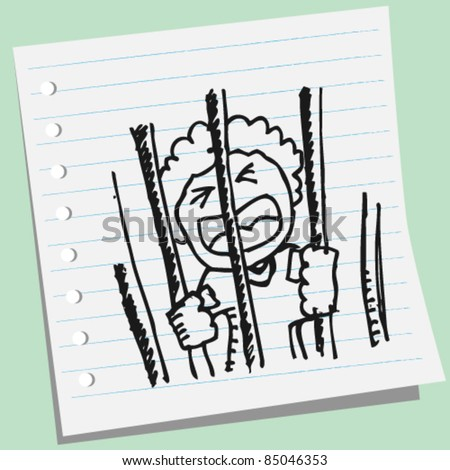 doodle sketchy illustration of a man in jail - stock vector
