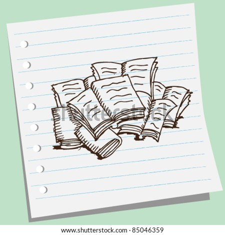 doodle sketchy illustration of books - stock vector