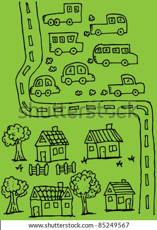 doodle sketchy illustration of car,house and road