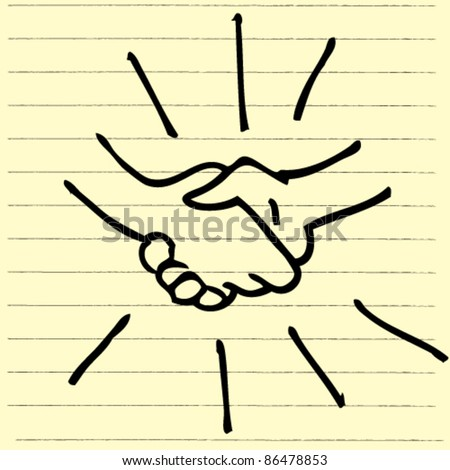 doodle sketchy illustration of handshake - stock vector