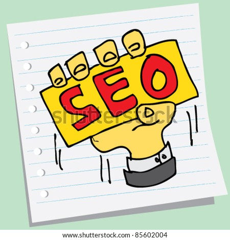 doodle sketchy illustration of hold seo - stock vector