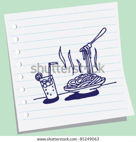 doodle sketchy illustration of noodle stock - stock vector