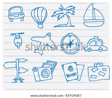 doodle sketchy illustration of travel - stock vector