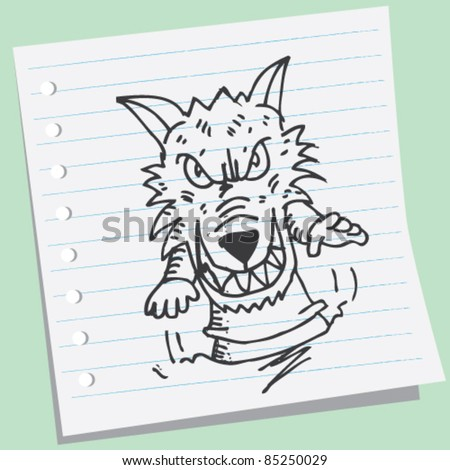 doodle sketchy illustration of werewolf - stock vector