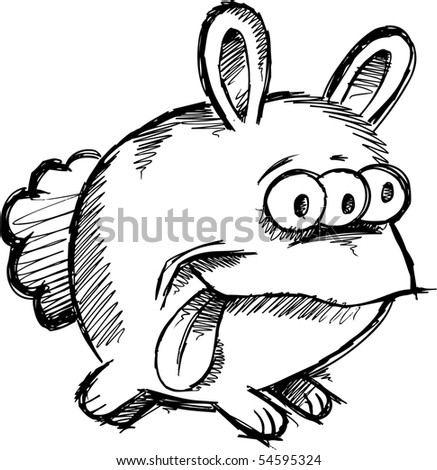Doodle Sketchy Monster Bunny Rabbit Vector Illustration - stock vector