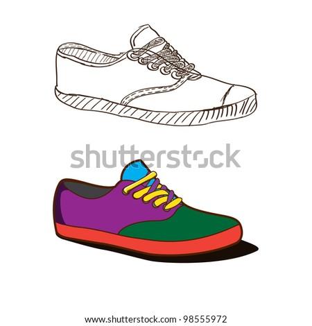 Doodle sketchy oldschool boots - stock vector