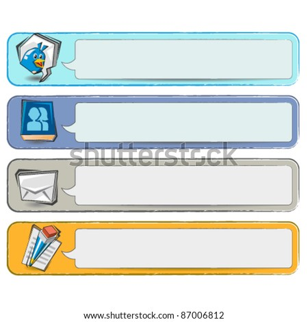 Doodle Social Media Banners - stock vector