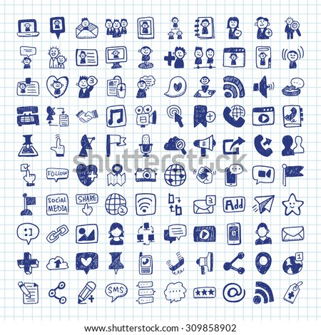 doodle Social media icons - stock vector