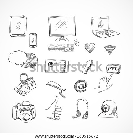 Doodle social media icons set of network communications for blog isolated vector illustration - stock vector