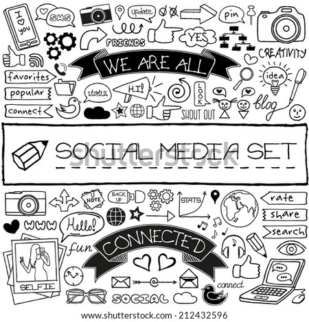 Doodle social media symbols / icons set. Networking concept. Speech bubbles, thumb up, mobile phone, tags with captions and other design elements. For blog, web site, mobile apps. Vector illustration. - stock vector