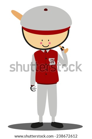 Doodle softball player - Full Color - stock vector