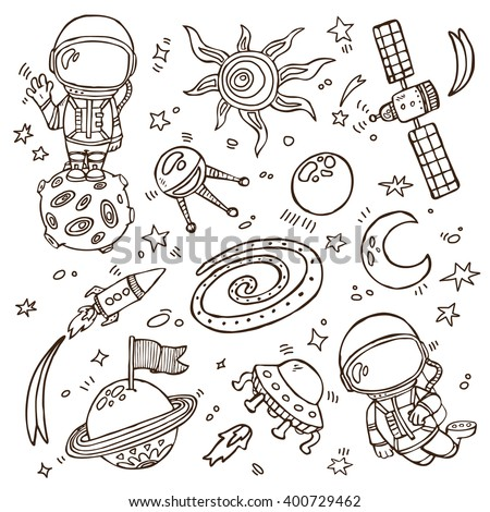 doodle space collection. Set of vector doodle hand drawn outlines astronauts, planets, stars, spaceships for wallpapers, scrapbooking, web page backgrounds,textile - stock vector