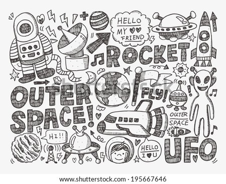 doodle space element - stock vector