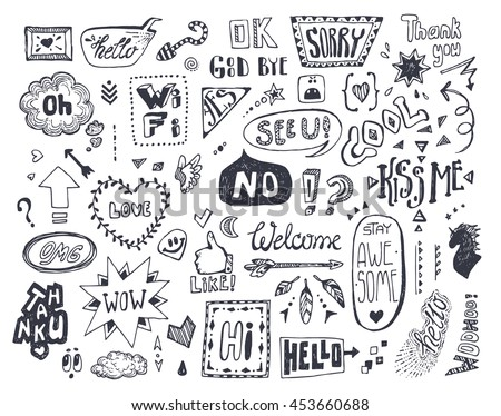 Doodle Speech Thought Bubbles Set Dialog Stock Vector