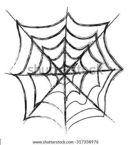 doodle spider web,  vector illustration - stock vector