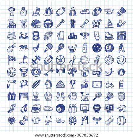 doodle sport icons - stock vector