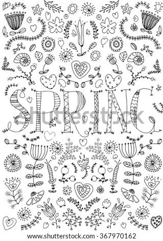 Doodle spring background in vector with doodles, flowers letters. Vector garden pattern can be used for wallpaper, pattern fills, coloring books and pages for kids and adults. Black and white.