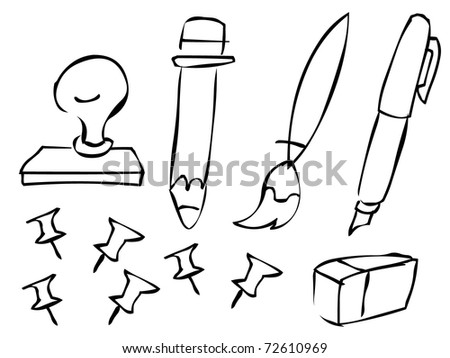 doodle stationeries set - stock vector