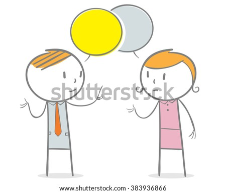 Doodle stick figure: A business man and business woman talking with a speech bubbles over their head. - stock vector