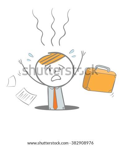 Doodle stick figure: A Business man fallinginto a hole, Business failure metaphor - stock vector