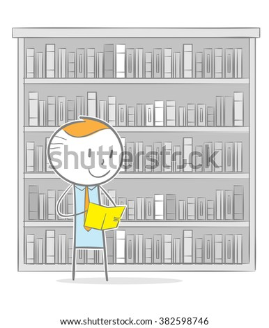 Doodle stick figure: A business man reading a book in a library - stock vector