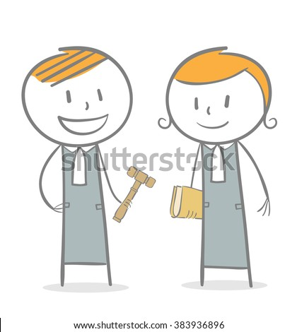 Doodle stick figure: A judge with gavel and a lawyer - stock vector