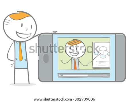 Doodle stick figure: A man having video chat with teacher on his phone in home - stock vector