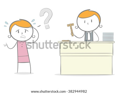Doodle stick figure: An innocent defendant accused guilty by a judge. - stock vector