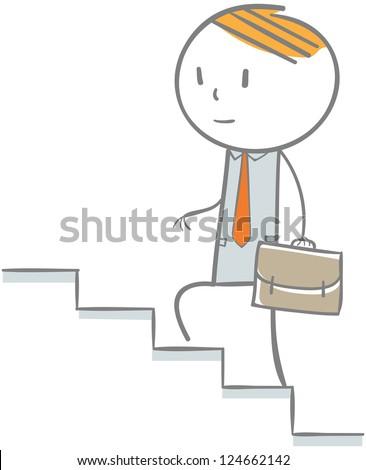 Doodle stick figure: Businessman climbing on a ladder - stock vector