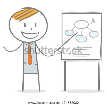 Doodle stick figure: Businessman holding and pointing a stick to a paperboard