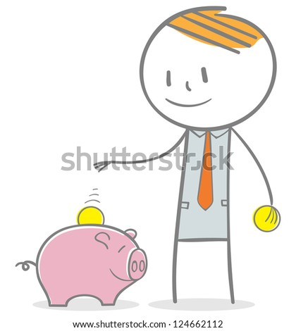 Doodle stick figure: Businessman investing money concept. collecting money to piggy bank. - stock vector